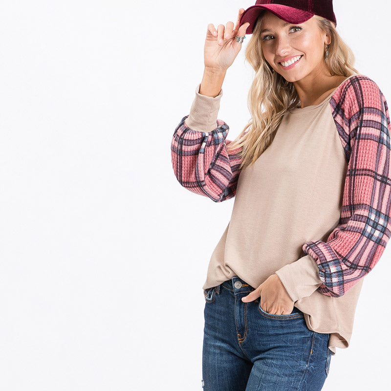 Eve Plaid Sleeve Top Beige
