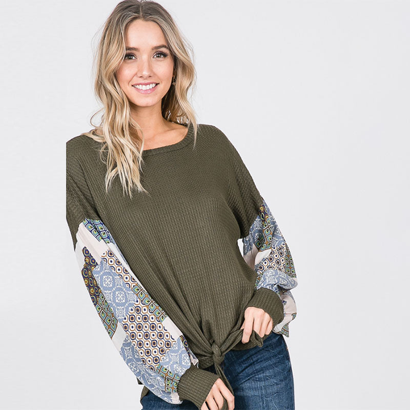 Patchwork Sleeve Tie Top Khaki