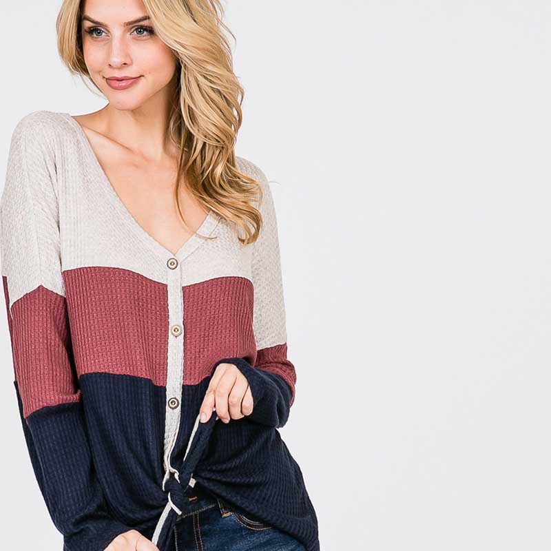 Waffle knit Colour Block Top Navy