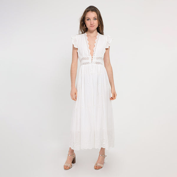 Palmer Embroidery Ruffle Midi Dress (White)