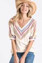 Chevron Short Sleeve Top (Cream)