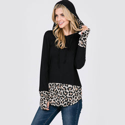 Two Tone Leopard Hoody Black