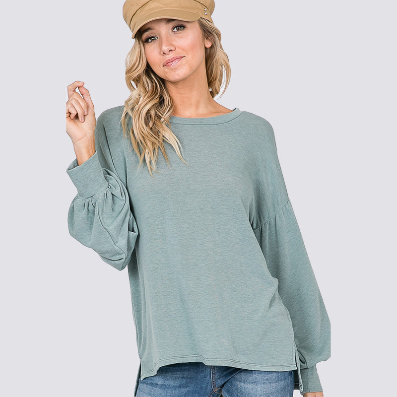 Hannah Balloon Sleeve Top Sage