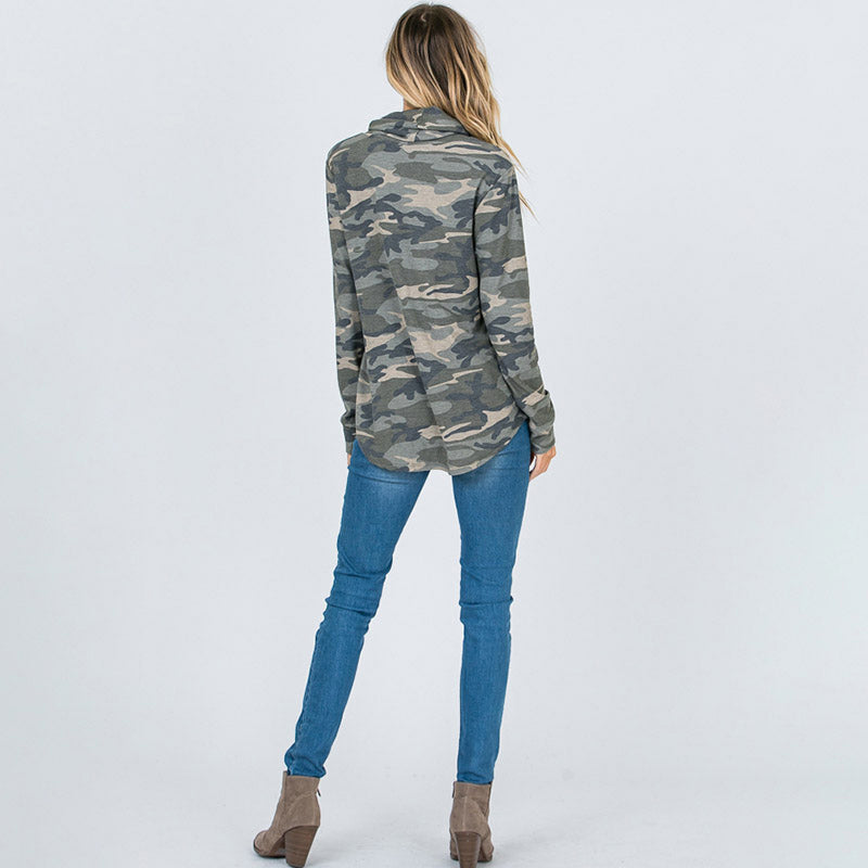 Cowl Neck Camo Top