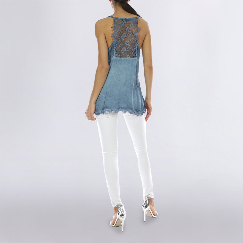 Classic Lace Tank Top Blue