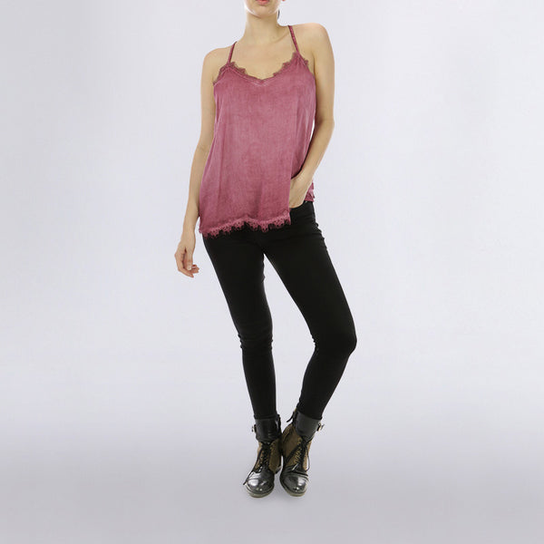 Classic Lace Tank Top Wine
