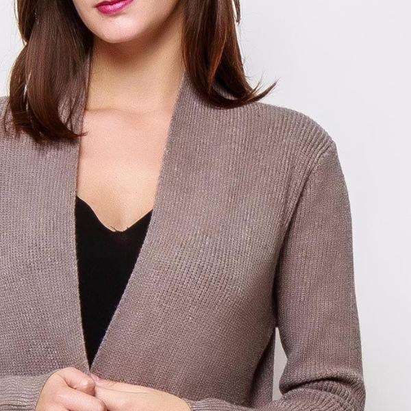 Maxi Cardigan Pockets Taupe
