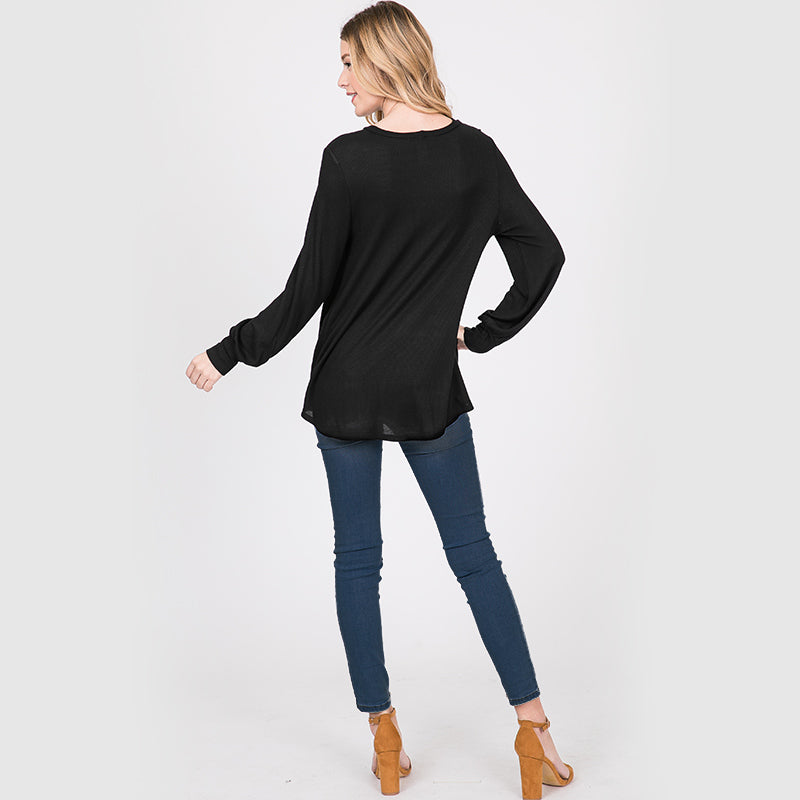 Sandra Puff Sleeve Top Black