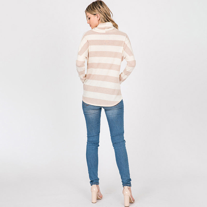 Stripe Cowl Neck Jumper Taupe