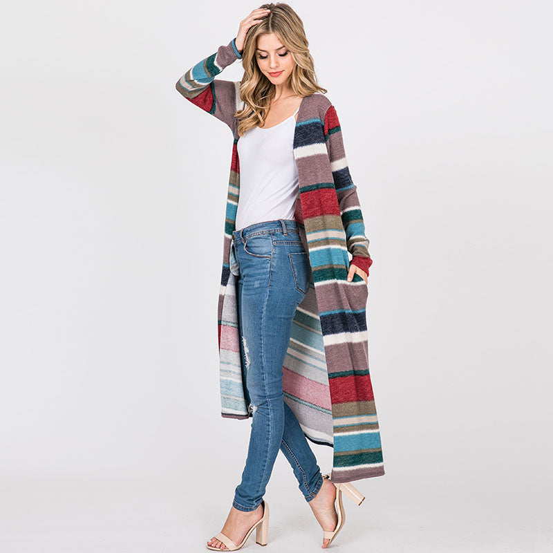 Stripe Maxi Cardigan Teal