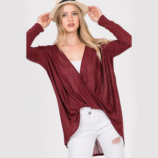 Crossover Long Sleeve Top Burgundy
