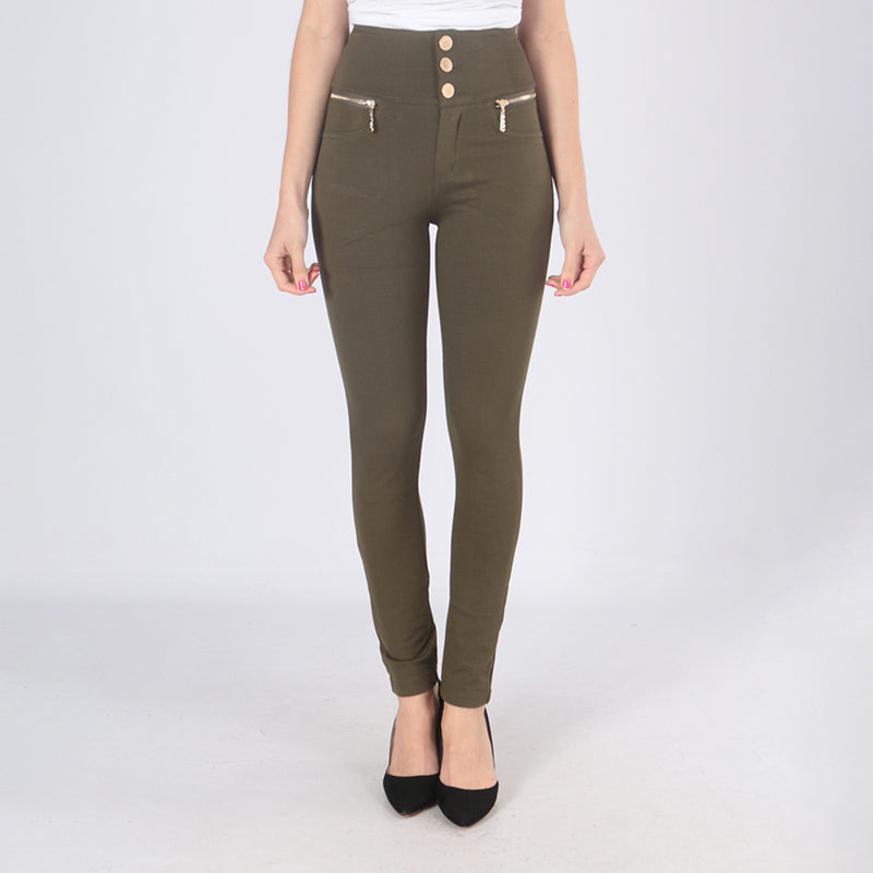 Jessica Gold Button Jeggings (Khaki)