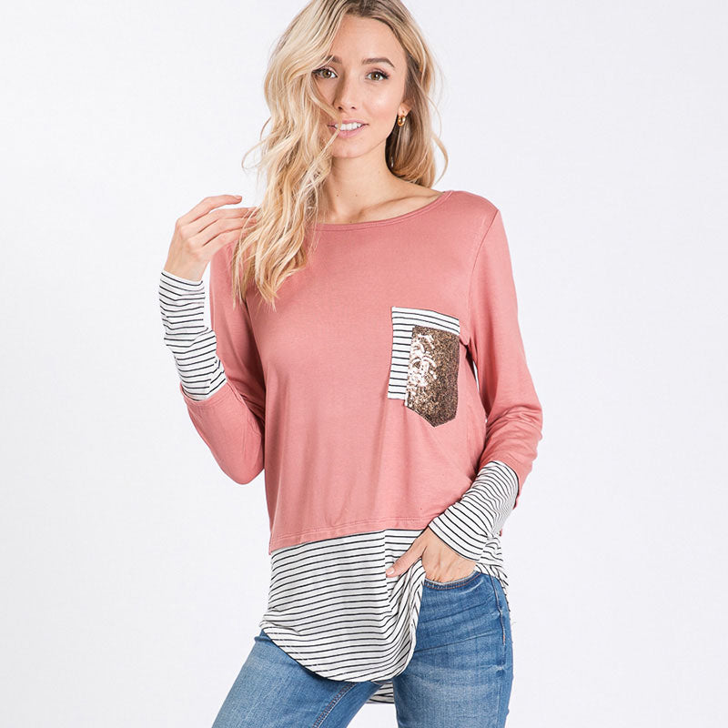 Sule Striped Hem Pocket Top