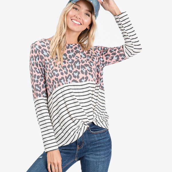 Leo Leopard Stripe Knot Top Blush