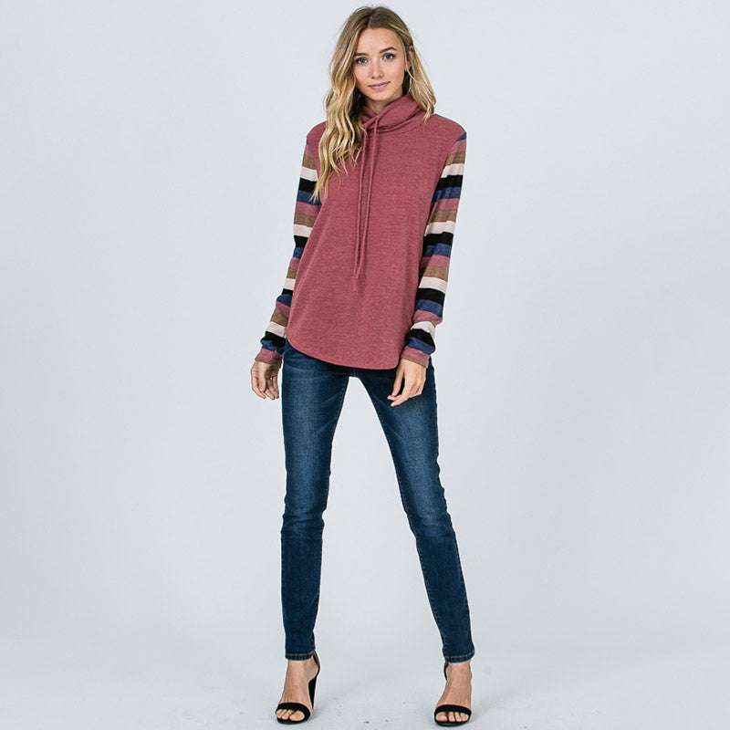 Cowl Neck Stripe Sleeve Top Mauve