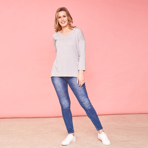 Riley V Neck Top (Grey)