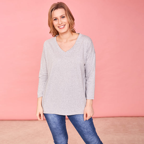 Riley V Neck Top (Dove)