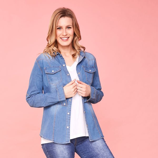 Siona Denim Shirt (Blue)