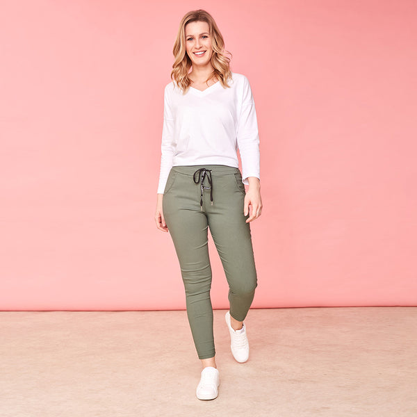 Rhiona Stretch Trousers (Khaki)