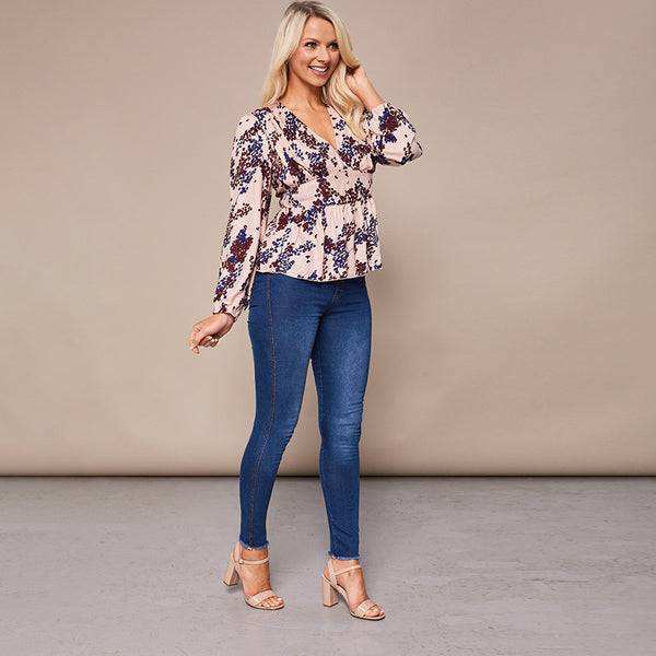Maisy Peplum Top Cream Floral