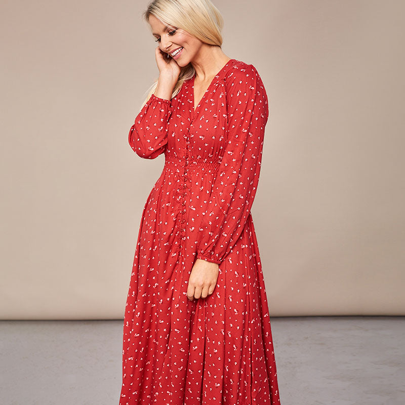 Sophie Red Floral Maxi Dress