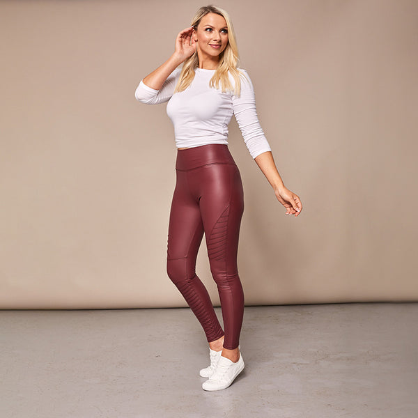 Wet Look Biker Leggings (Wine)