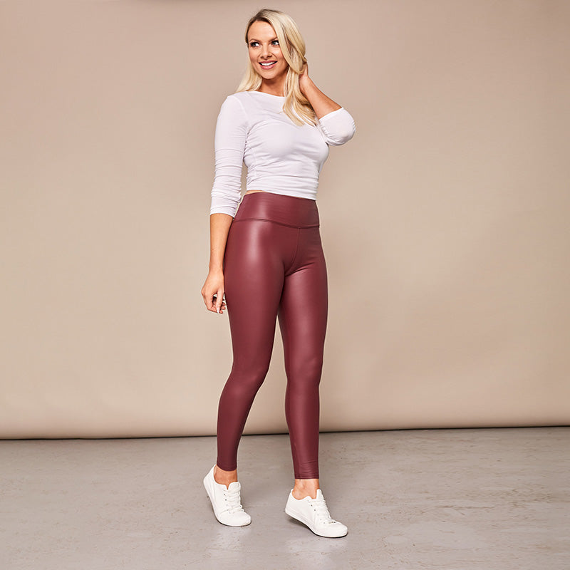 Wet Look PU Leggings (Wine)