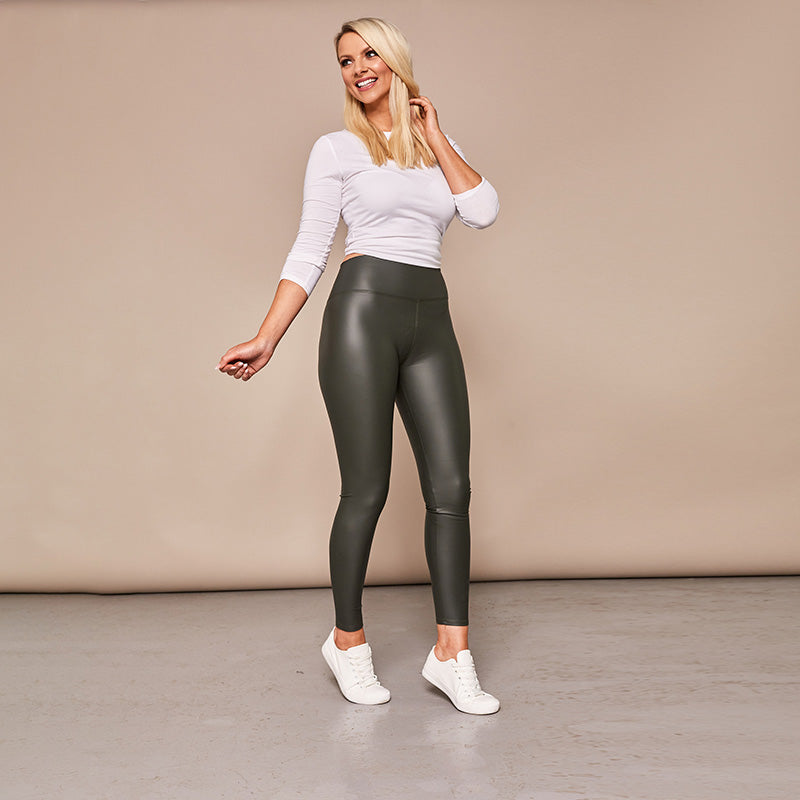Wet Look PU Leggings (Khaki)