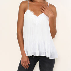 Leah Lace V Neck Tank Top White