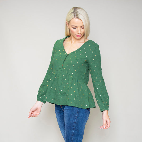 Pia Peplum Top (Green)