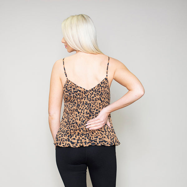 Lisa Leopard Pleated Tank Top