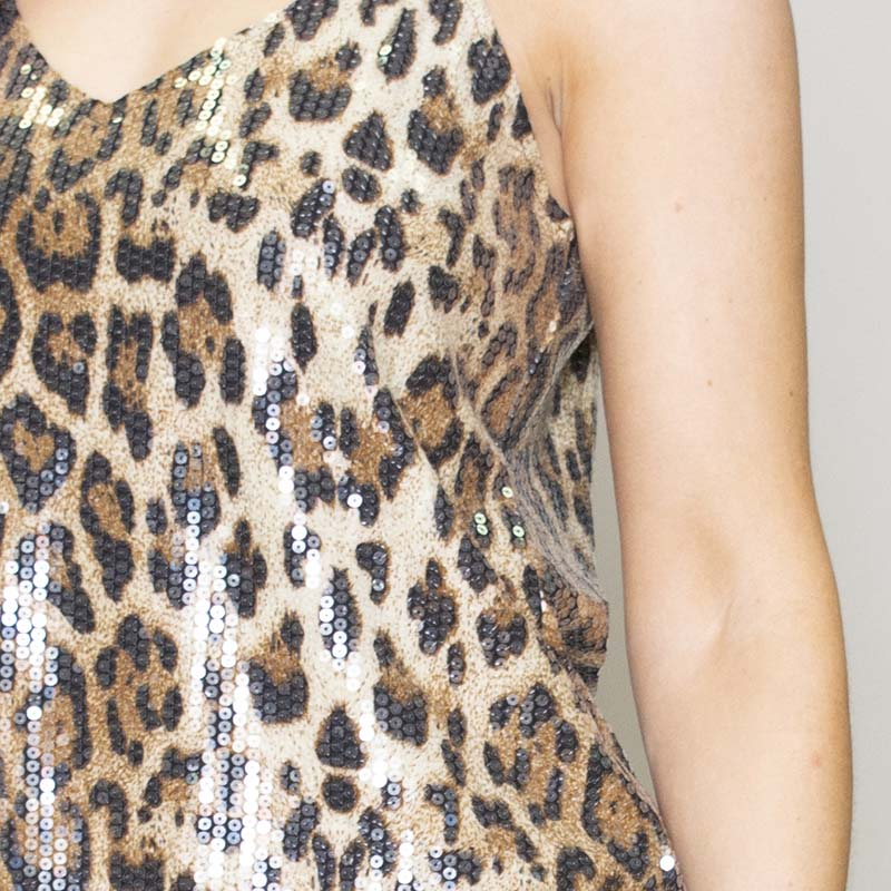 Lara Leopard Sequin Tank Top
