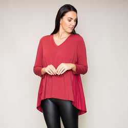 Amber Rounded Hem Top (Apple Red)
