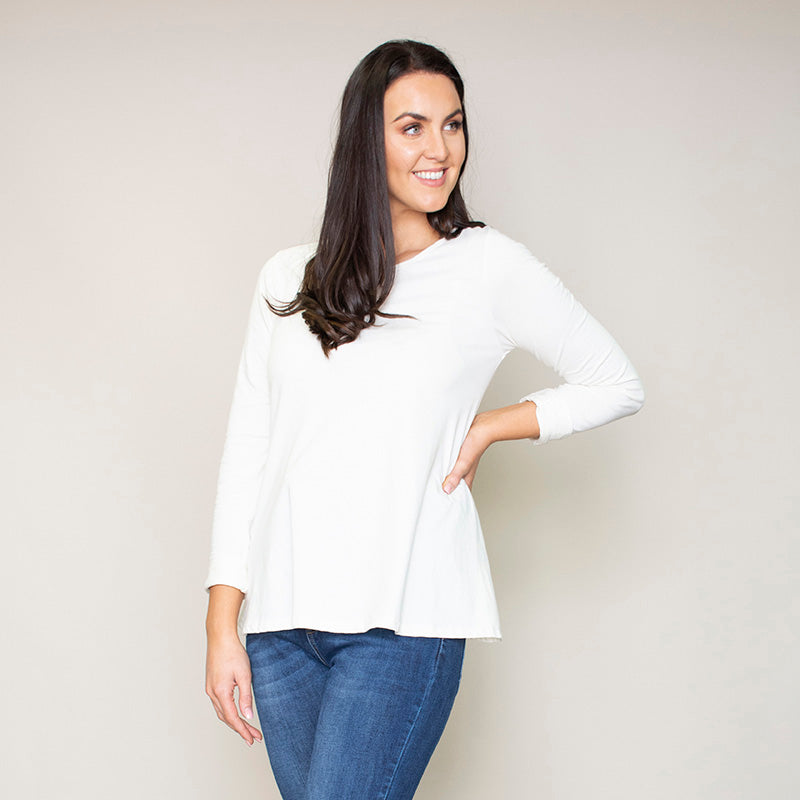 Sofia Swing Round Neck Top (Vanilla)