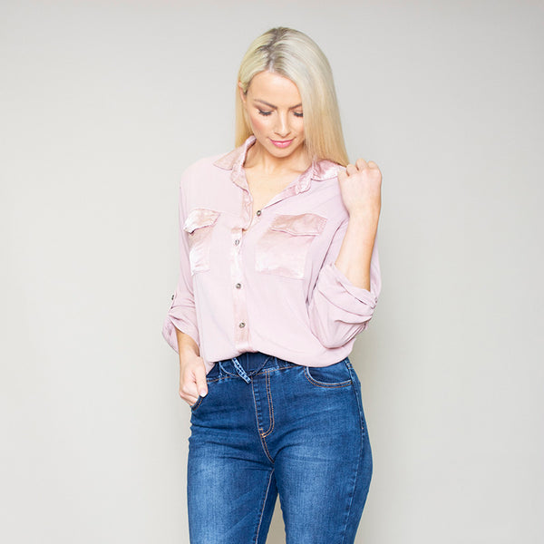 Carrie Pocket Shirt (Rose)