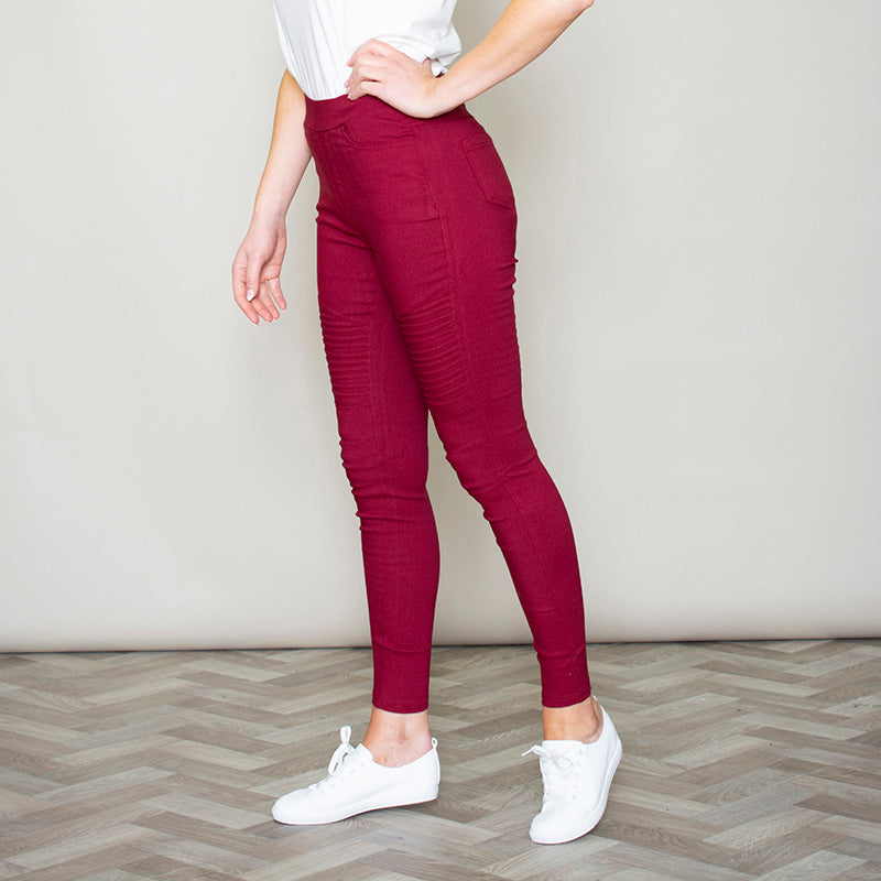 Moto Pleated Jeggings (Burgundy)