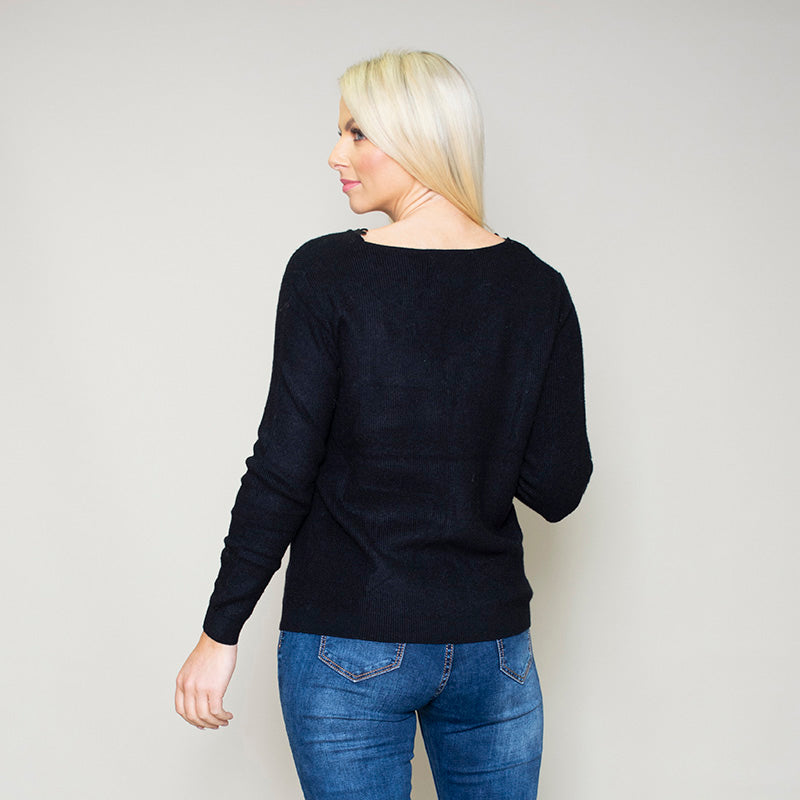 Fia Floral Trim Jumper Black