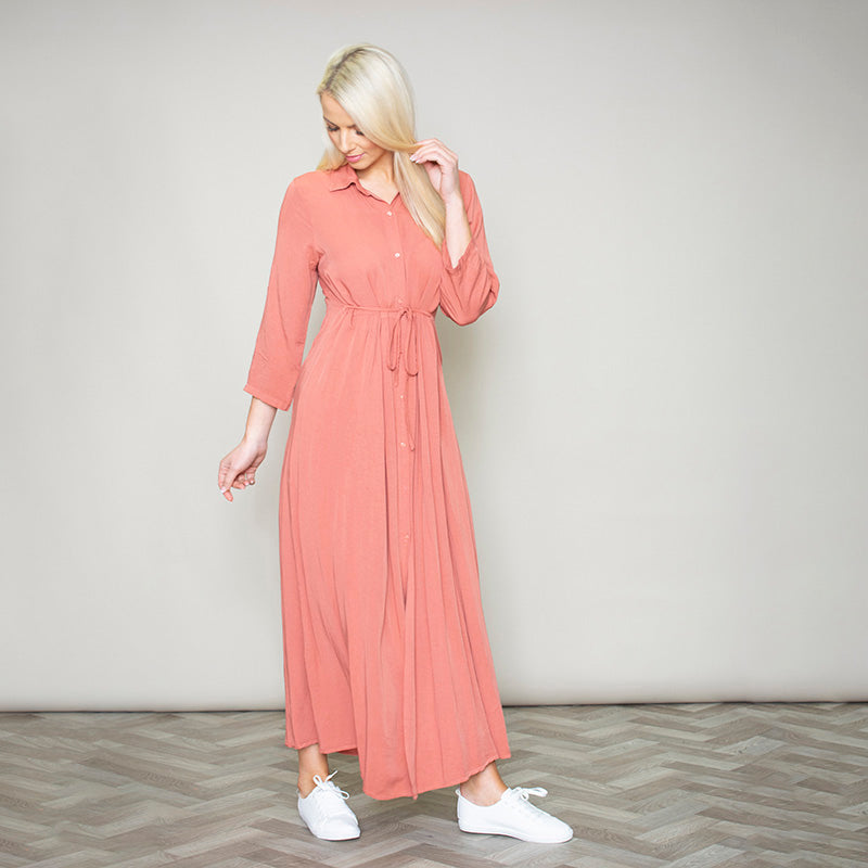 Pillo Peach Maxi Shirt Dress
