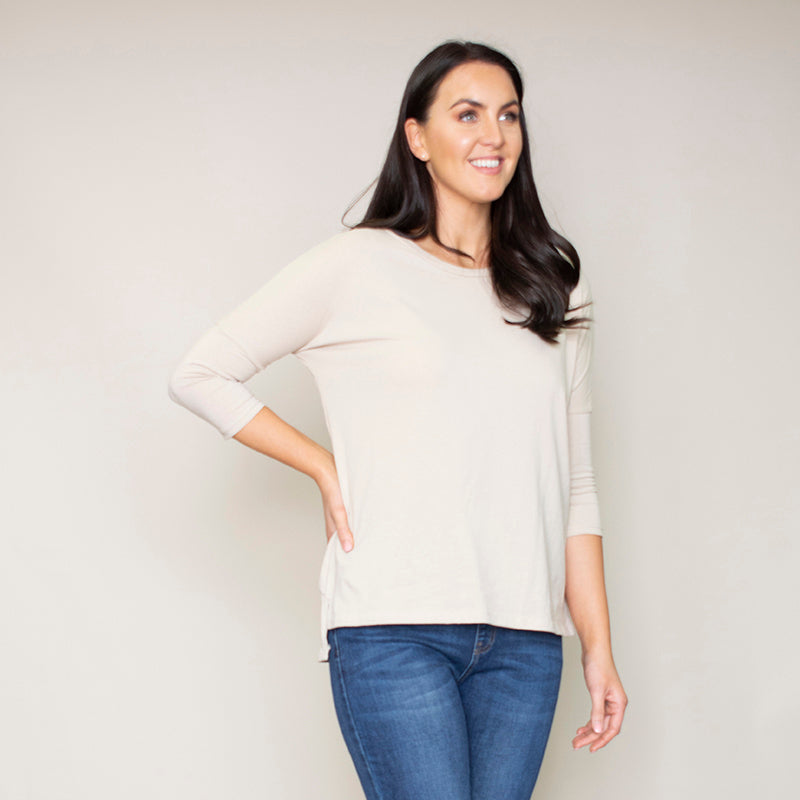 Pia Relaxed Fit Round Neck Top (Hazel)