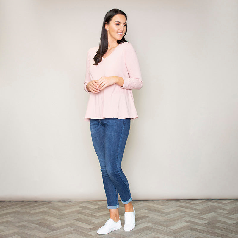 Sofia Swing V-Neck Top (Blush)