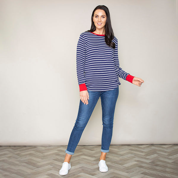 Katie Contrast Cuff Stripe Top (Cherry)