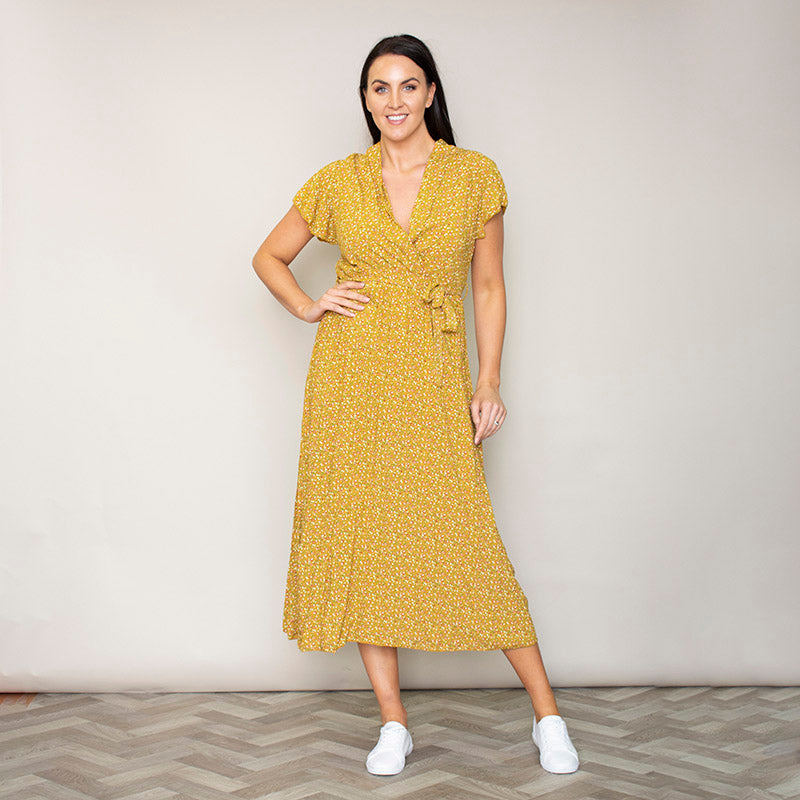 Carmen Floral Midi Dress (Sunflower)