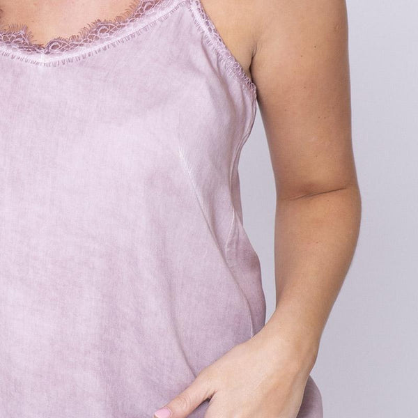 Everyday Lace Tank Top Pink