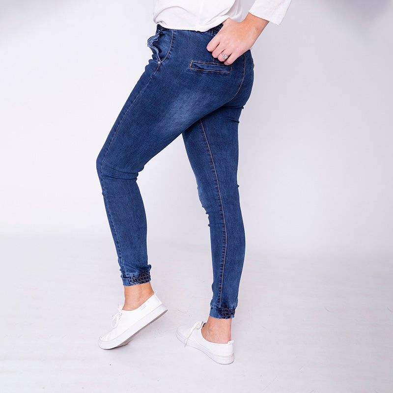 Eva Elastic Cuff Jegging (Denim)