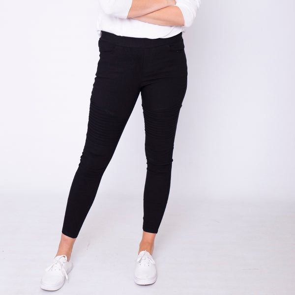 Moto Pleated Jeggings Black