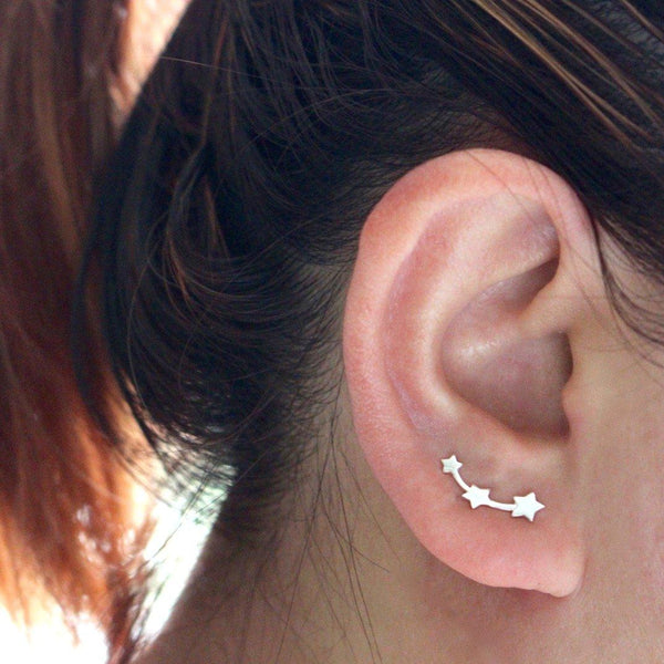 Shooting Star Ear Climber Silver