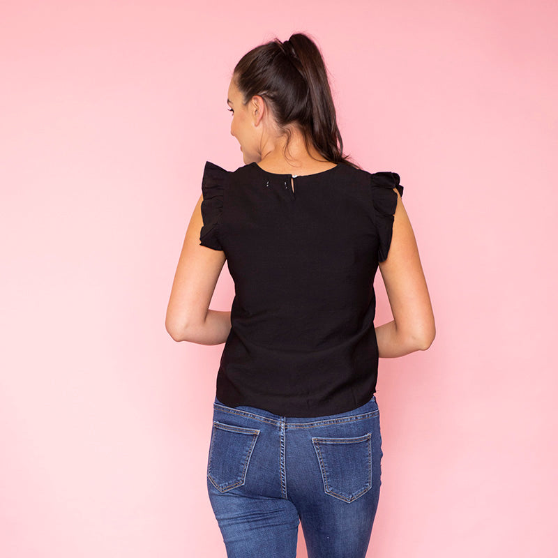 Emma Ruffle Sleeve Top (Black)