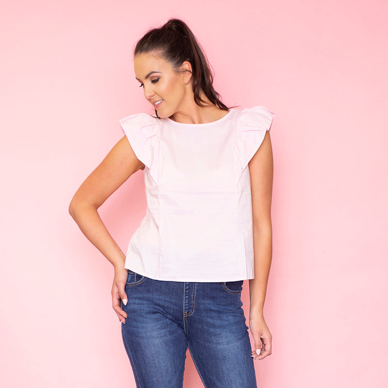 Rey Ruffle Pearl Top (Blush)