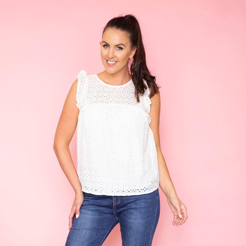 Polly Babydoll Ruffle Top (White)