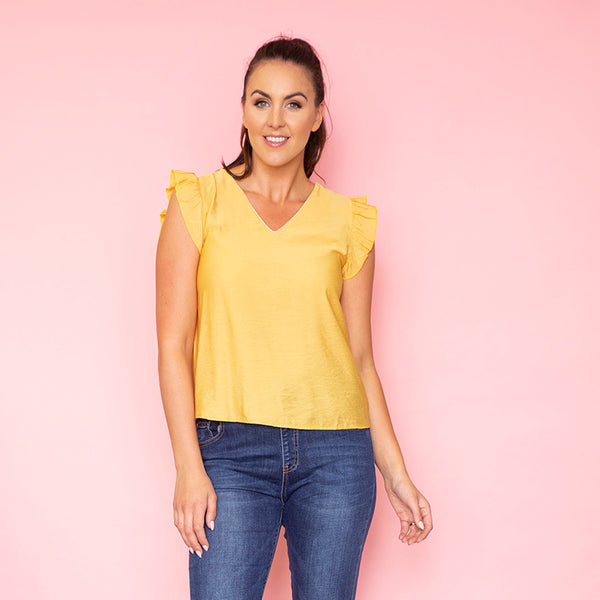 Emma Ruffle Sleeve Top (Yellow)